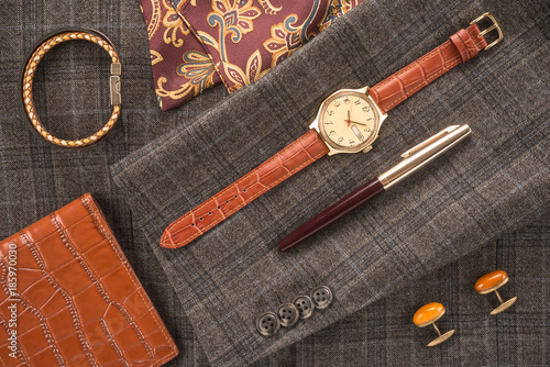 Men accessories on a gray background Wallpaper Mural