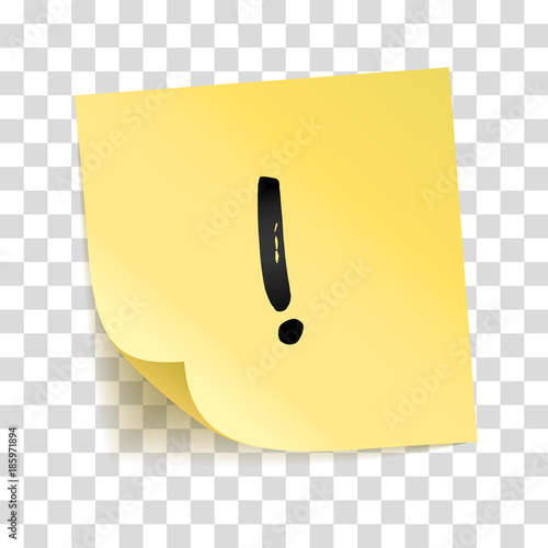 Valokuva  Note yellow sticker exclamation point