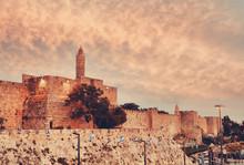 Walls Of Ancient City At Sunse...