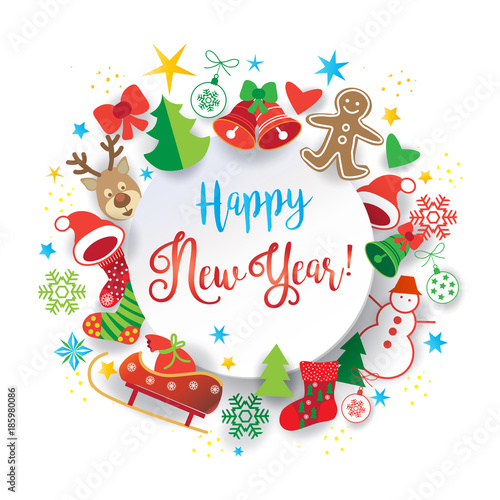 Happy New Year Calligraphy Text And Xmas Traditional Winter Holiday