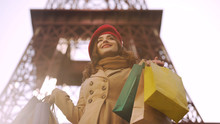 Beautiful Lady Having Successful Shopping In Paris, Shopaholic With Many Bags