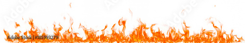Tuinposter Vuur Fire flames isolated on white background.