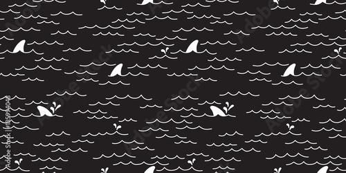 Shark Whale Dolphin Seamless Pattern Sea Ocean Vector Doodle