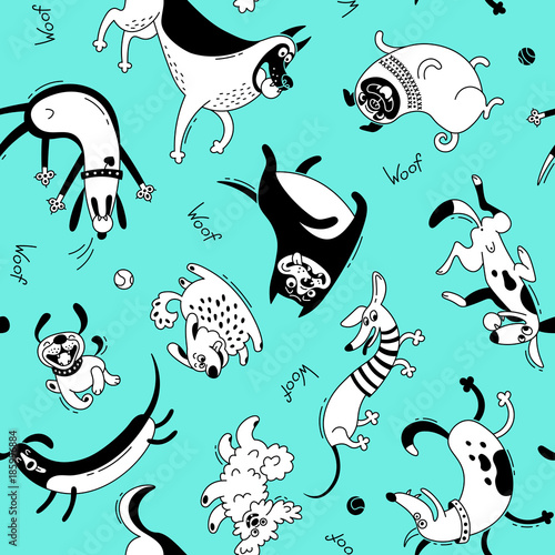 Playing dogs seamless pattern Fototapete