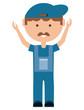 cartoon mechanic man icon