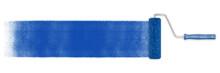 Blaue Bahn Farbe Mit Farbroller Auf Wand