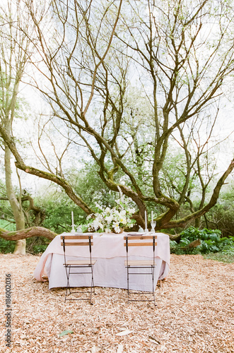 Fotobehang Tuin outdoor wedding dining table
