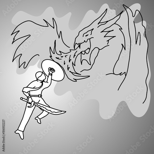 businessman fighting a dragon vector illustration doodle sketch hand drawn with black lines isolated on gray background Wallpaper Mural
