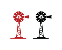 Black And Red Windmill Illustr...