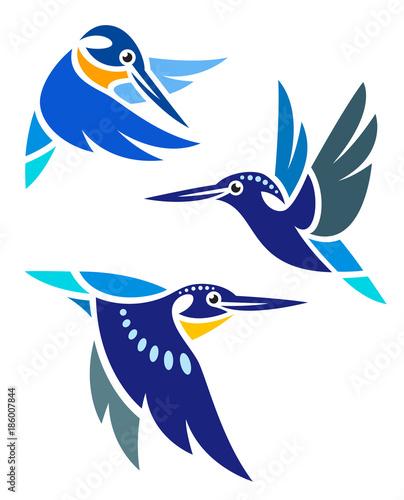 Stylized Birds - Kingfishers in flight Wallpaper Mural