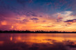 canvas print picture - sunset on the lake landscape