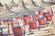 Beach loungers and umbrellas on the sea. Main beach in Agadir city located on the shore of the Atlantic Ocean.Morocco.