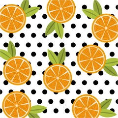 fruit citrus orange food polka dots seamless pattern