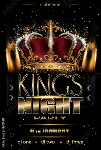 kings night party flyer background black with lights and stars