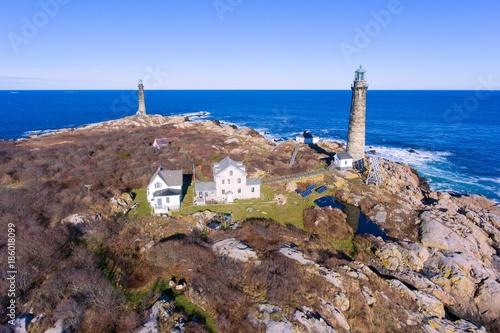 Valokuva  Aerial view of Thacher Island Lighthouse on Thacher Island, Cape Ann, Massachusetts, USA