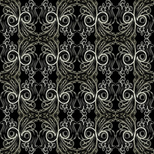 Baroque Vector Seamless Pattern. Damask Black Floral Background Wallpaper Illustration With Vintage White Line Art Tracery Flowers, Scroll Leaves, Antique Ornaments In Victorian Style. Luxury Texture