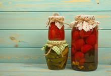 Glass Jars Of Homemade Pickles...