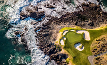 Drone View Of A Golf Course Ne...