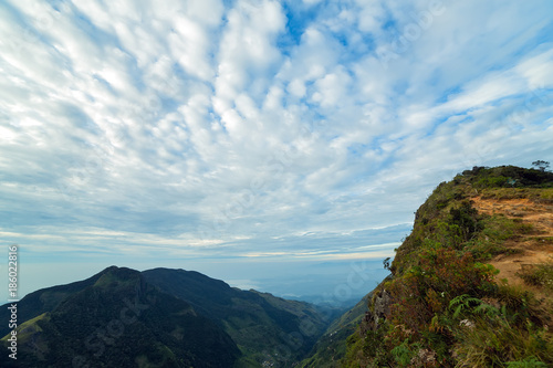 Printed kitchen splashbacks South Africa Sunrise in meadows and mountains landscape, Worlds End in Horton Plains National Park Sri Lanka.