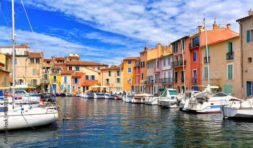 Canvas Prints Ship Colorful houses in the harbor of Martigues, France