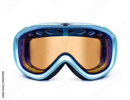 Ski or snowboard mask closeup isolated on white background