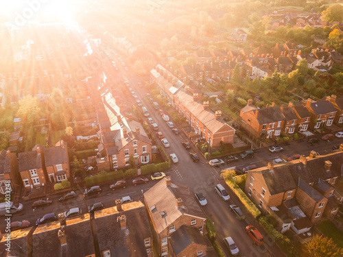 Fotografie, Obraz  Sun setting over a traditional British neighbourhood