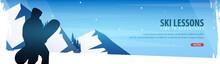 Winter Sport. Ski Lessons Horizontal Banner. Vector Illustration.