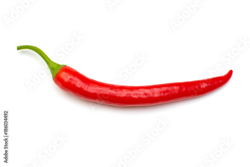 Staande foto Hot chili peppers Red chili pepper isolated on a white background. Flat lay, top view