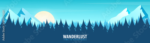 Poster Turquoise Nature landscape background with silhouettes of mountains and trees. Vector Illustration.
