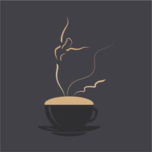 Ballerina Dancing On Cappuccino Foam. Coffee Cup With Dancing Wonan Dancer. Vector Illustration Logo