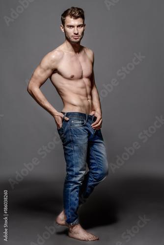 Deurstickers Akt naked man in jeans
