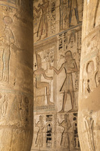 Columns In The Portico Of The Second Court, Temple Of Ramesses III At Medinet Habu, West Bank, Luxor, Egypt