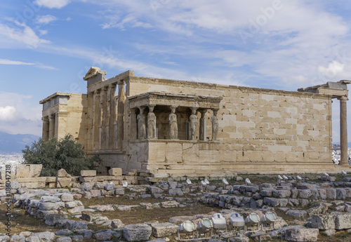 Poster Athene Erechtheion Temple with six Caryatids on Acropolis Hill, UNESCO World Heritage Site, Athens, Greece, Europe