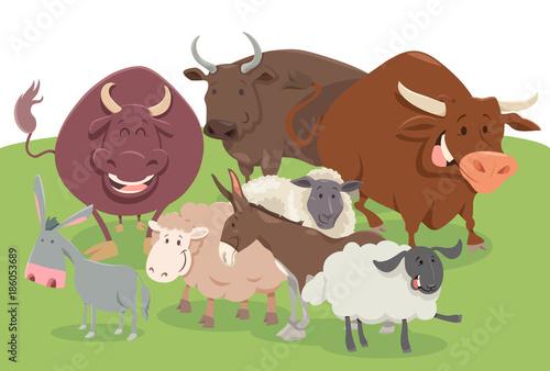 In de dag Boerderij comic farm animal characters group