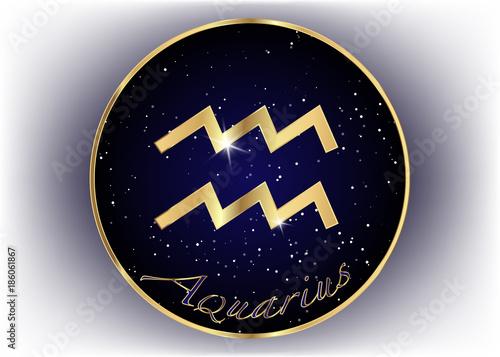 Gold Aquarius Zodiac Constellations Sign On Beautiful Starry Sky