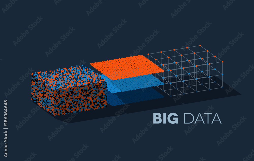 Fototapety, obrazy: Big data illustration with structuring map reduce process