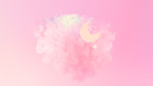 Beautiful Pink Cotton Candy Clouds, Crescent Moon And Stars. 3d Rendering Picture.
