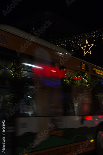 Photo  shopping street traffic with xmas christmas advent decoration