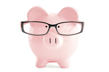 Pink Piggy Bank In In Glasses ...