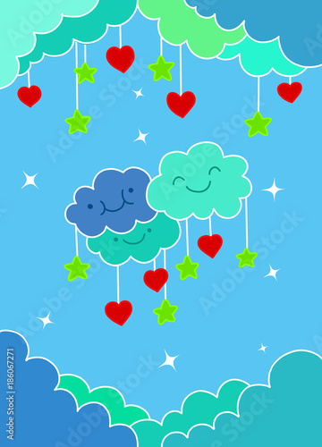 Staande foto Kasteel concept of love and valentine day ,heart shaped balloon with cloud and sky