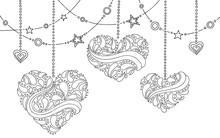 Heart Graphic Doodle Black White Background Illustration Vector