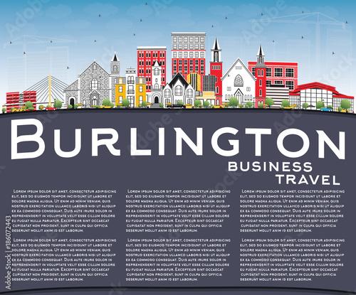 Fotografie, Obraz  Burlington Iowa City Skyline with Color Buildings, Blue Sky and Copy Space