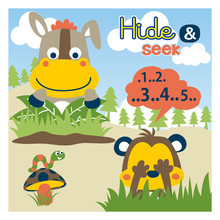 Playing Hide And Seek With Funny Animals Cartoon