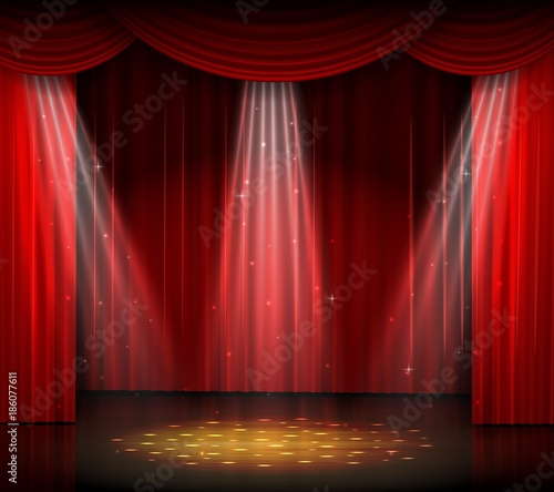 Obraz Empty stage with red curtain and spotlight on wooden floor - fototapety do salonu