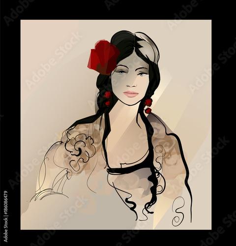 Tuinposter Art Studio Traditional Spanish Flamenco woman