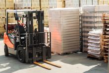 Forklift Trucks For Moving Goods In Warehouses.