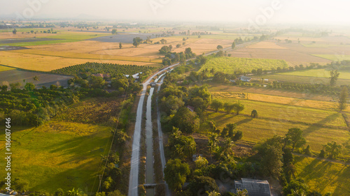 Poster Channel Aerial view from drone flight Irrigation canal
