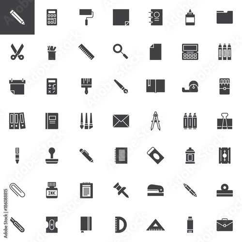 office stationery vector icons set  modern solid symbol collection  filled style pictogram pack