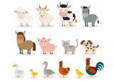 Fototapeta Fototapety na ścianę do pokoju dziecięcego - Farm animals set in flat style isolated on white background. Vector illustration. Cute cartoon animals collection: sheep, goat, cow, donkey, horse, pig, cat, dog, duck, goose, chicken, hen, rooster