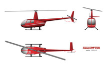 Red Helicopter. Top, Front And Side View. 3d Image Of Business Vehicle.  Industrial Isolated Drawing. Copter In Realistic Style